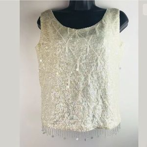 Womens Vintage Sleeveless Top Sequins Wool Medium